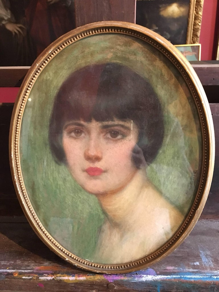 1920's Portrait of Fashionable Young Lady, Signed. - Art by Unknown