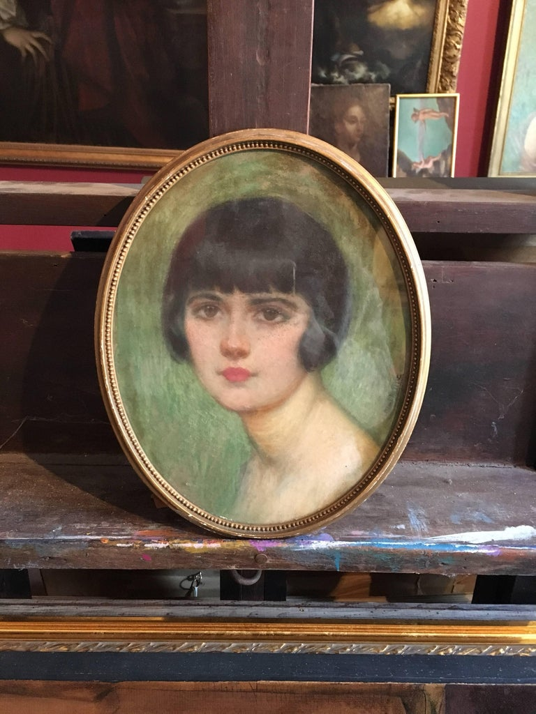 1920's Portrait of Fashionable Young Lady, Signed. - Impressionist Art by Unknown