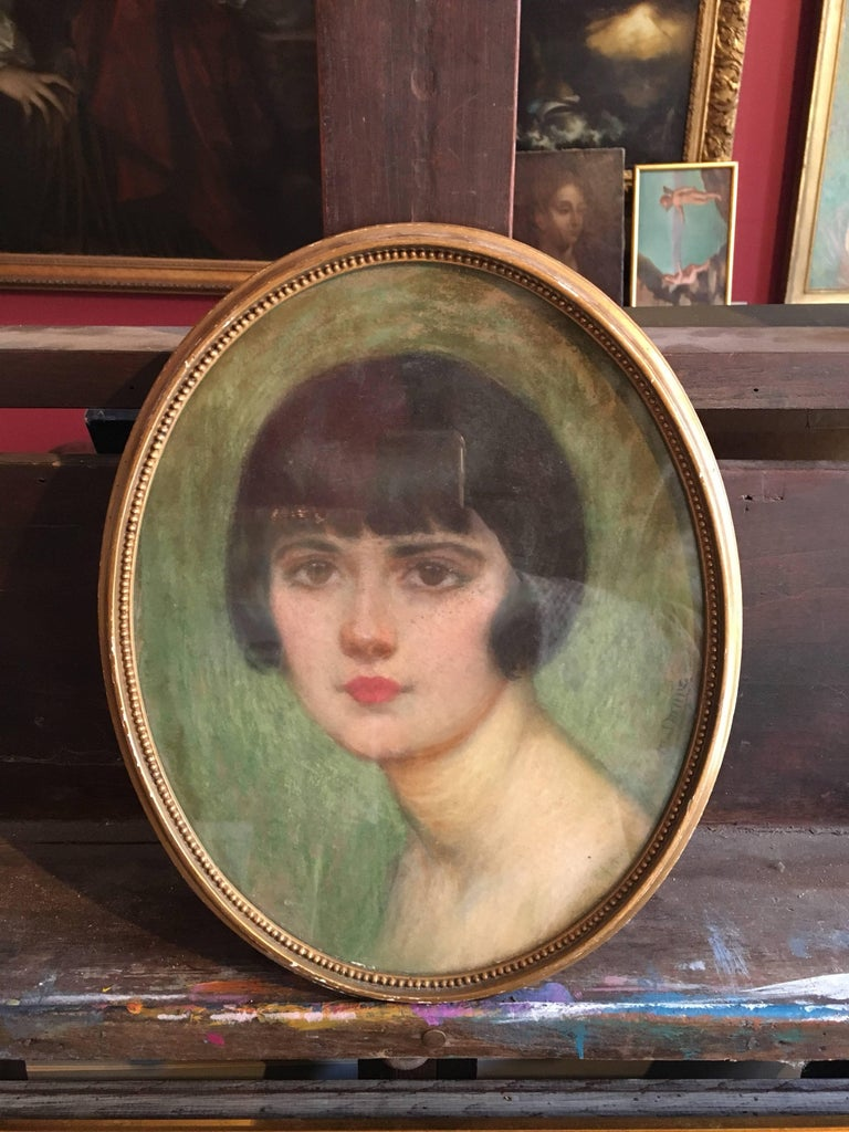 1920's Portrait of Fashionable Young Lady, Signed. For Sale 3