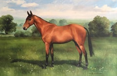 Fine Portrait of a Horse in Landscape, Signed English Oil Painting