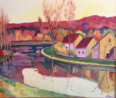 The Winding River, French Fauvist Landscape, Signed Oil