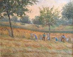 1930's German Post-Impressionist Oil, Farmers Harvesting