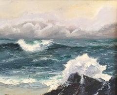 Crashing Waves, Large Signed German Impressionist Oil Painting