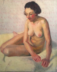 Superb Nude French Impressionist 1930's Oil Painting, The Artists Model