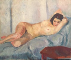 Lovely Nude French Impressionist 1930's Oil Painting