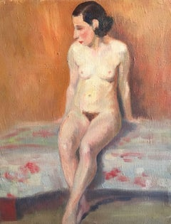 The Seated Nude, French Impressionist 1930's Oil Painting