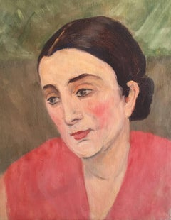 Lady in Coral Pink, French Impressionist 1930's Oil Painting