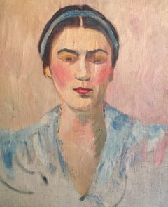 Lady with Blue Headband, French Impressionist 1930's Oil Painting