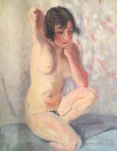 The Nude Model, French Impressionist 1930's Oil Painting