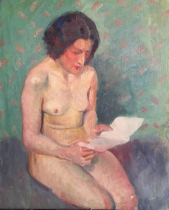 Model Reading a Book, French Impressionist 1930's Nude Oil Painting