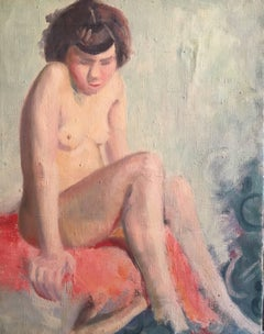 Girl Sat on PinkOstrich Feathers, French Impressionist 1930's Nude Oil Painting