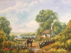 Farmer and Horse English Country Cottage, Signed Oil