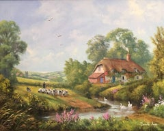 The River Cottage, Sheep & Shepherd Fine English Oil Painting