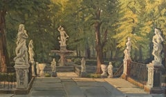 Statues in Parisian Park, Large French Oil