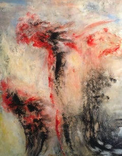 Large Abstract Oil, Red and Black, Signed