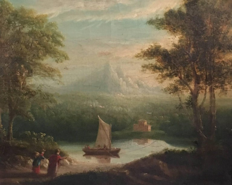 Travellers in Arcadian Landscape 19th Century English Oil Painting
