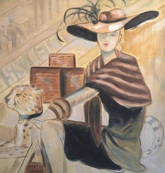 Fashionable Parisian Lady in Hat, with Leopard