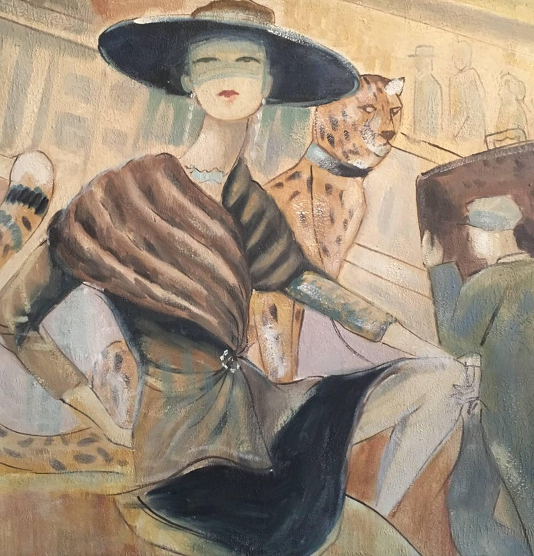 A la Mode Parisian Lady - with a Leopard