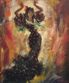 'Rita' Spanish Flamenco Dancer Signed Oil Painting