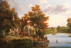 The Ferry Inn, Large Traditional English Oil, Signed