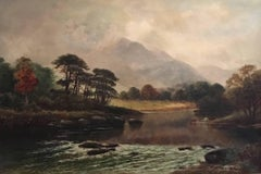 Victorian Scottish Highlands River Landscape Cattle Watering