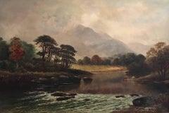 Victorian Scottish Highlands River Landscape Cattle Watering
