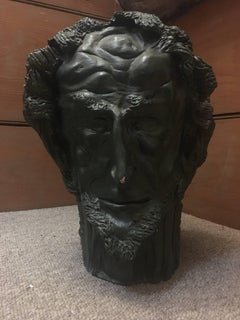 Head Sculpture Double Sided Man with Beard