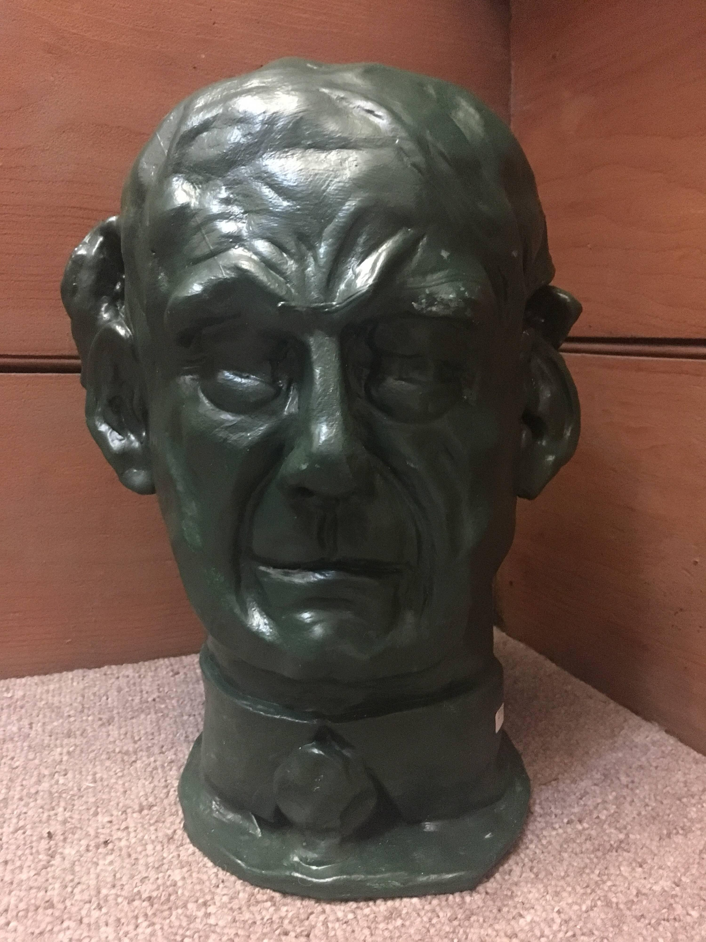 Head Sculpture Double Sided Man with Moustache