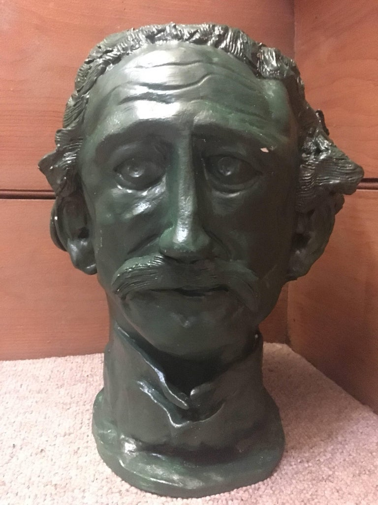 Head Sculpture Double Sided Man with Moustache For Sale 1
