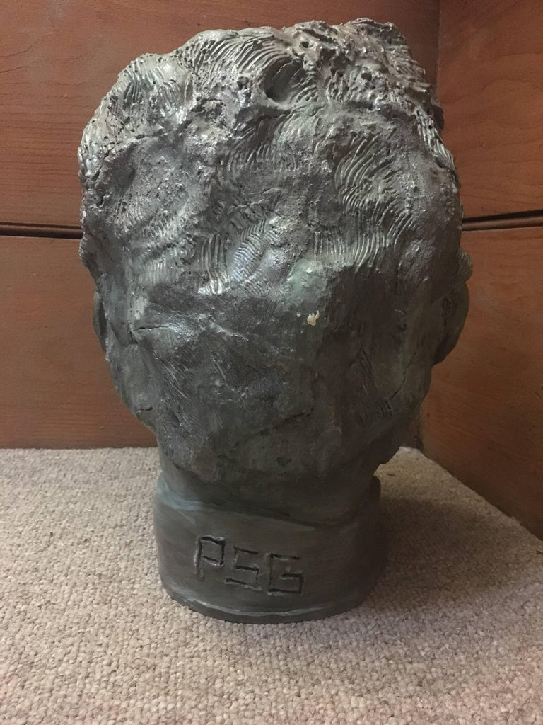 Head Sculpture, Man with Beard, By French artist, Gabriel Jenny, Mid 20th Century The artist has inscribed their initials near the bottom, please see images Medium: clay/plaster Size of the head approx: 13 x 9 inches  Intriguing sculpture head, of