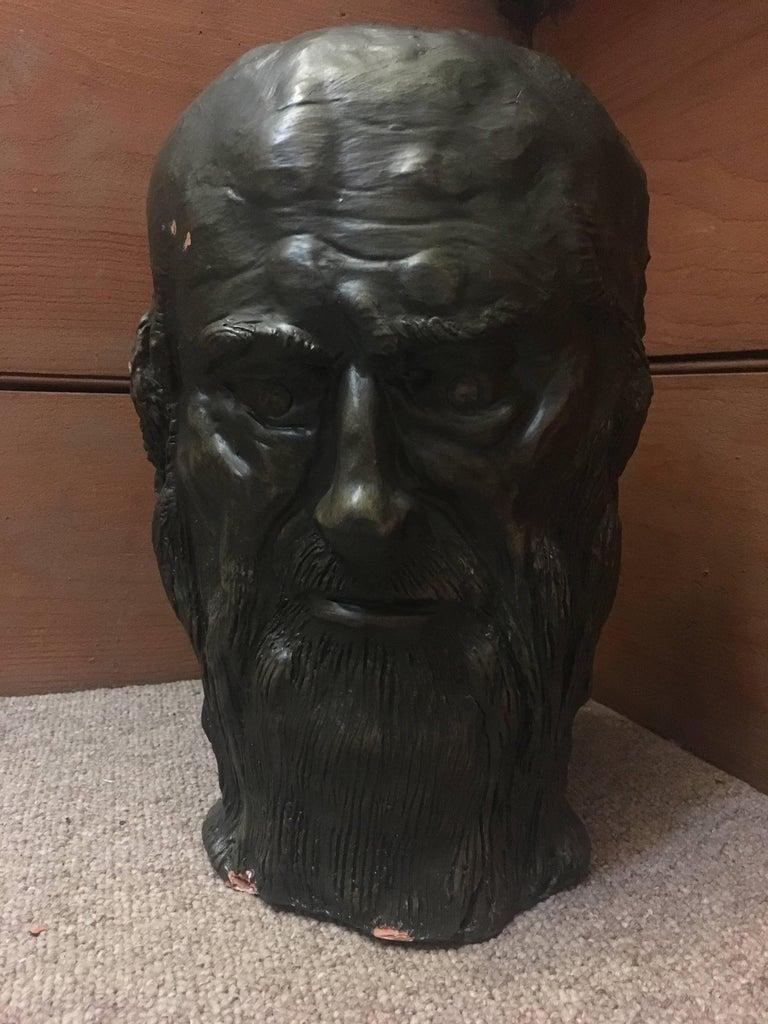 Head Sculpture, Double Sided, Long Beard - Black Figurative Sculpture by Gabriel Jenny