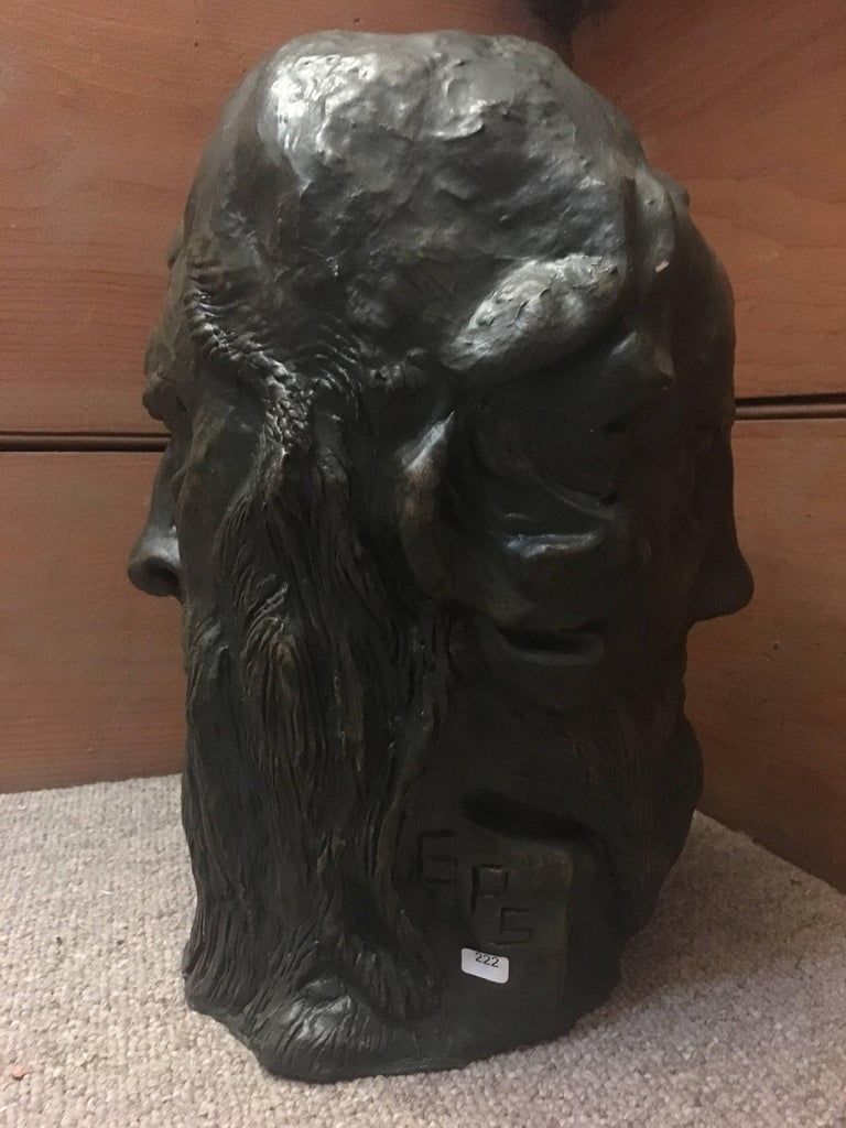 Head Sculpture Double Sided Man with Beard, By French artist, Gabriel Jenny, Mid 20th Century The artist has inscribed their initials near the bottom, please see images Medium: clay/plaster Size of the head approx: 13 x 9 inches  Intriguing