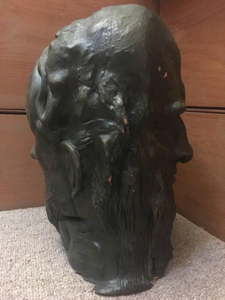 Head Sculpture, Double Sided, Long Beard For Sale 3