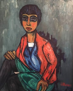 Portrait of a Stylish 1960's Lady, Signed Oil Painting
