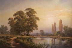 The Tranquil River, Large English Oil Painting, Signed