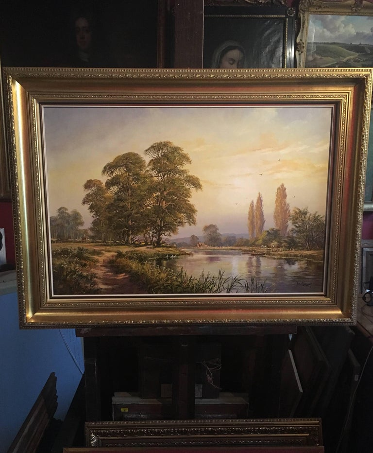 The Tranquil River, Large English Oil Painting, Signed  - Brown Still-Life Painting by Don Vaughan