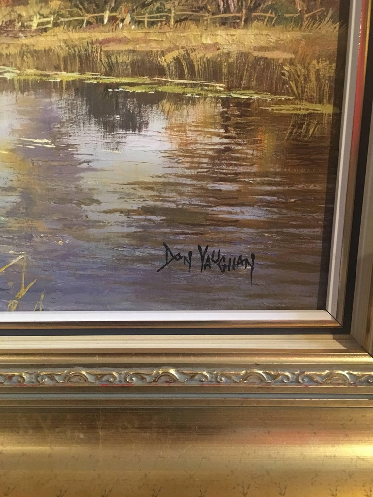 The Tranquil River By Don Vaughan, British artist, 20th Century Oil painting on canvas, framed Signed by the artist on the lower right hand corner Frame size: 26 x 37 inches  Fine large scale English river landscape signed oil painting by Don