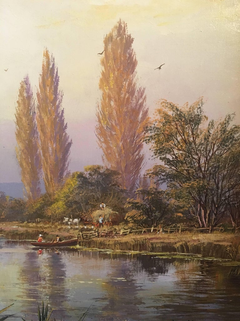 The Tranquil River, Large English Oil Painting, Signed  1