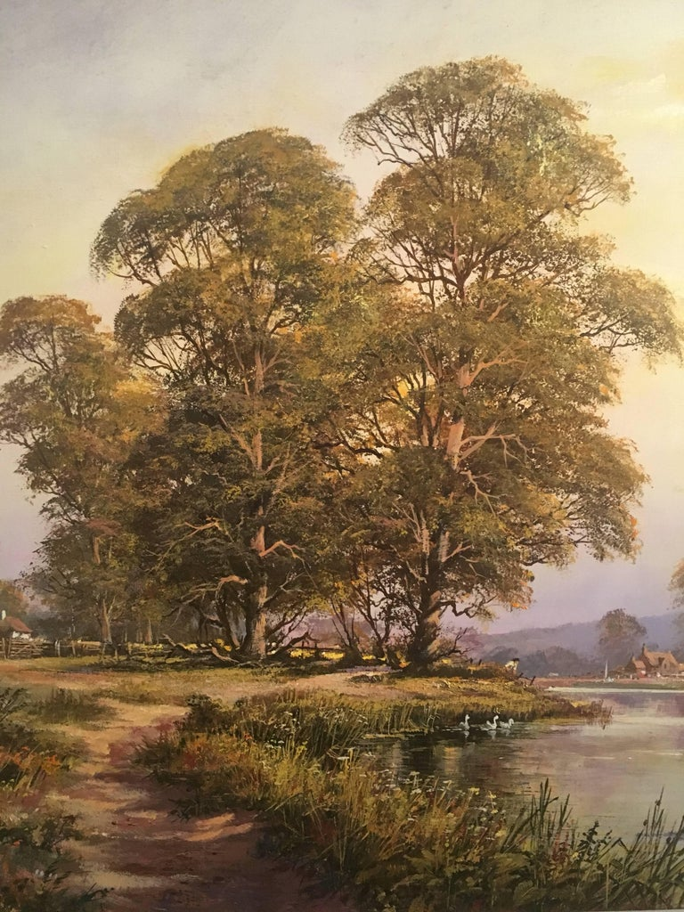 The Tranquil River, Large English Oil Painting, Signed  2