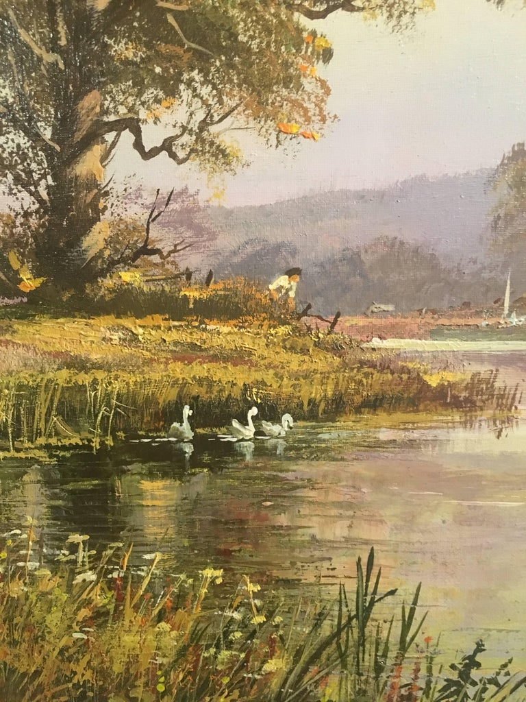 The Tranquil River, Large English Oil Painting, Signed  4
