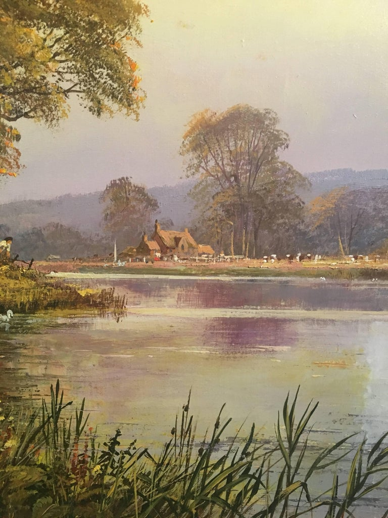 The Tranquil River, Large English Oil Painting, Signed  5