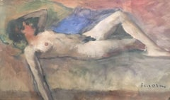 Vintage French Oil, Reclining Nude, Signed