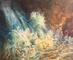 Foaming Waves, Huge British Oil Painting