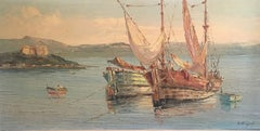 Fishing Boats off Antibes, Signed French Oil Painting