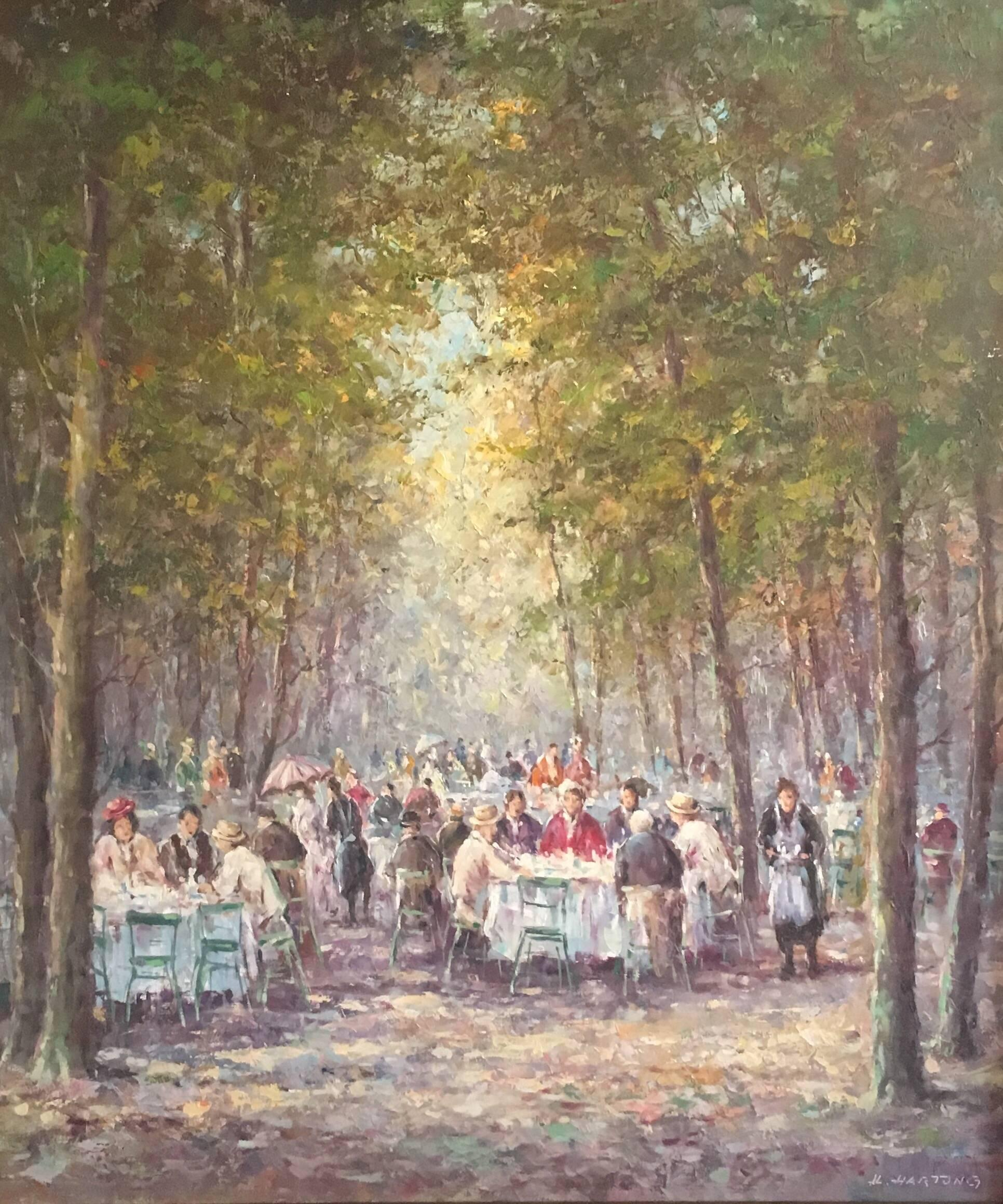 Figures in Busy Park Cafe Scene, Signed Oil Painting
