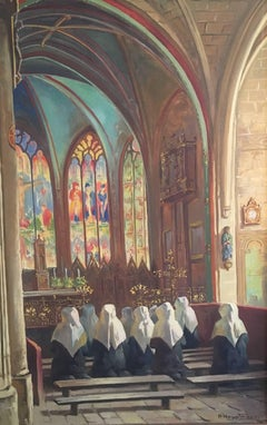 Nuns in Prayer, Fine Church Interior, Signed Oil Painting