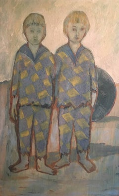 Blue Period, Two Boys on a Beach, Signed Oil Painting