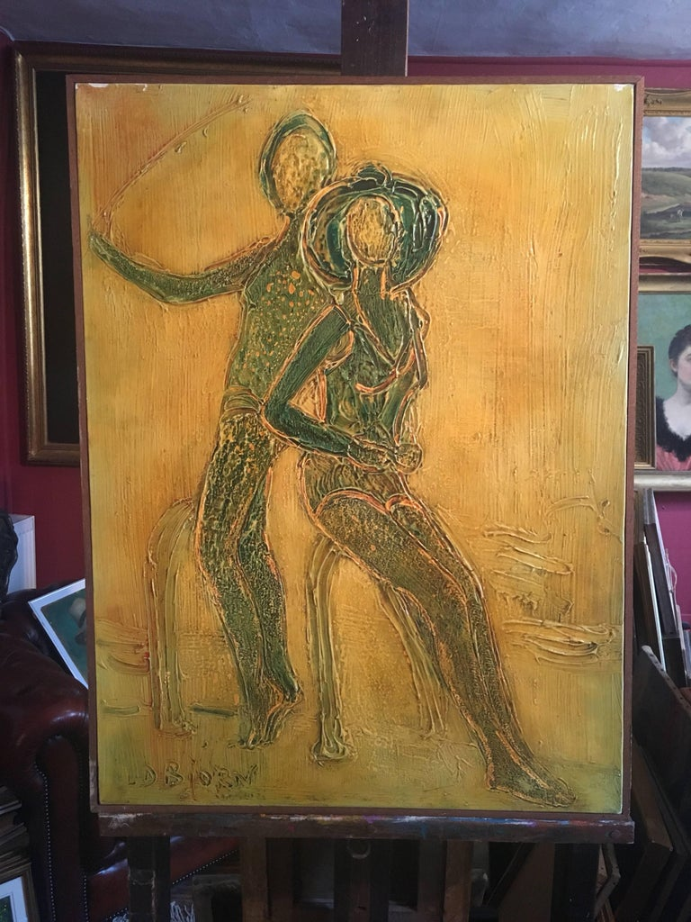 Large 1970's French Abstract Figures on Beach, Signed Oil Painting  - Brown Abstract Painting by Louis Donnet Bjorn
