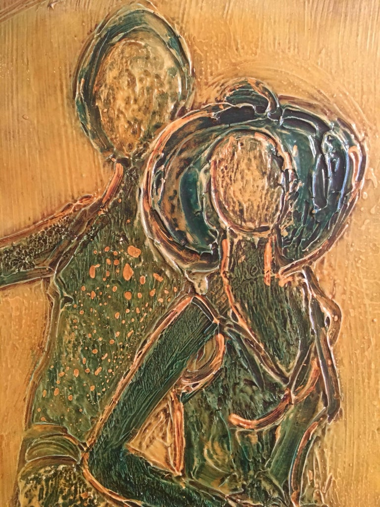 Large 1970's French Abstract Figures on Beach, Signed Oil Painting  For Sale 2