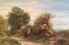 Gathering Berries, Victorian Oil Painting, Signed